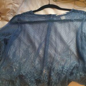H&M Coachella collection blue top size 6